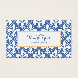 Blue and White Renaissance Fleur de Lys Business Card