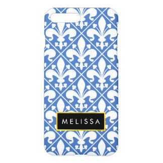 Blue and White Renaissance Fleur de Lys iPhone 7 Plus Case