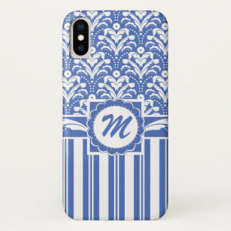 Blue and White Retro Floral Damask Monogrammed iPhone X Case