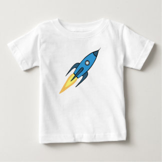Blue and White Retro Rocketship Cartoon Design Baby T-Shirt