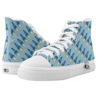 Blue and White Retro Rocketship Cartoon Design Printed Shoes