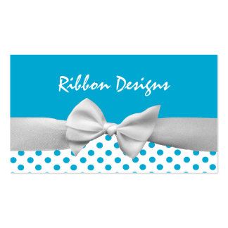 Blue and white ribbon and polka dots business card