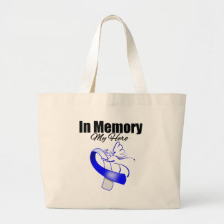 Blue and White Ribbon In Memory of My Hero Bag