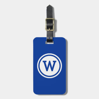 Blue and White Ringed Circle Monogram Luggage Tag