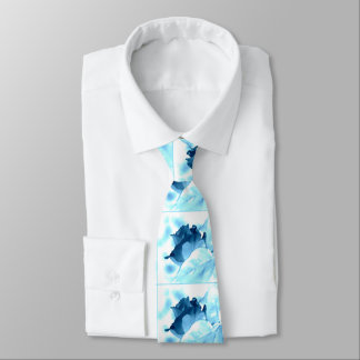 Blue and white rose on blue tie