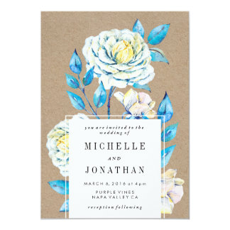 Blue and White Rose Wedding Invitation Kraft