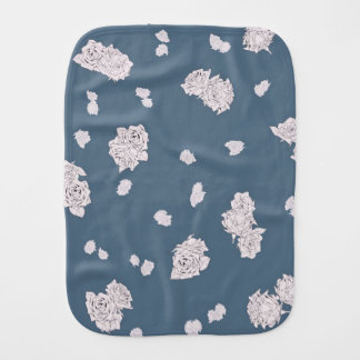 Blue and White Roses Burp Cloth