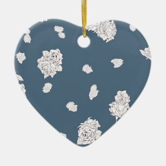 Blue and White Roses Ceramic Ornament