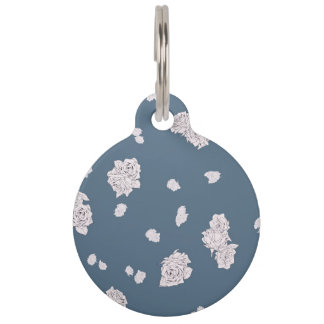 Blue and White Roses Pet ID Tag