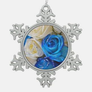 Blue and white roses snowflake pewter christmas ornament