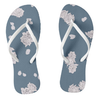 Blue and White Roses Thongs