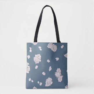 Blue and White Roses Tote Bag