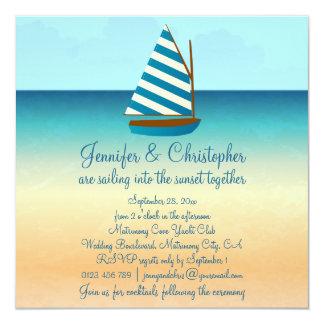 Blue and White Sailing Boat Wedding 13 Cm X 13 Cm Square Invitation Card