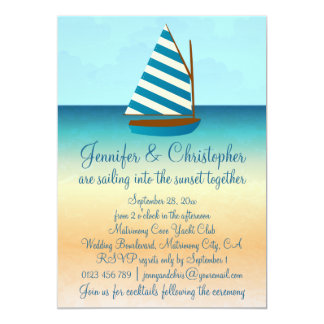Blue and White Sailing Boat Wedding Card