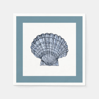Blue and White Scallop Cocktail Napkins Paper Napkins