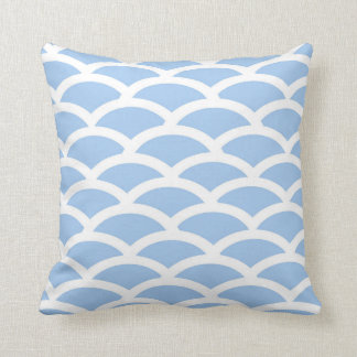 Blue and White Scallop Pattern Pillow