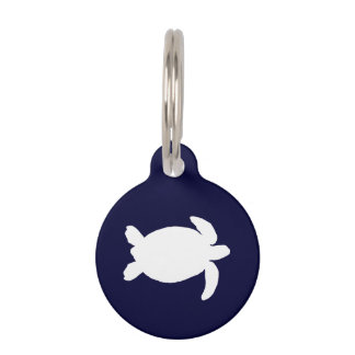 Blue and White Sea Turtle Pet ID Tag