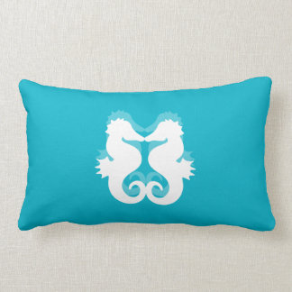Blue And White Seahorse Lumbar Pillows
