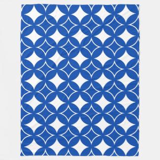 Blue and white shippo pattern fleece blanket