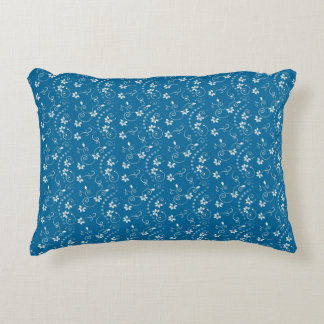 Blue and White Small Floral Pattern Throw Pillow