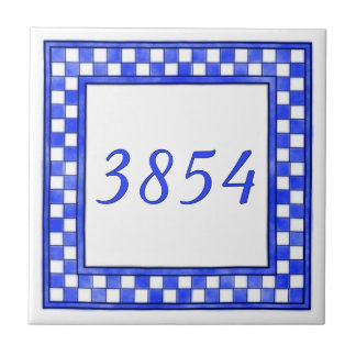 Blue and White Small House Number Ceramic Tile