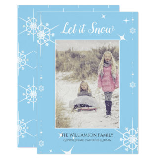Blue and White Snow Flakes Christmas Photo Card