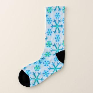 Blue and White Snowflake Hexagon Pattern 1