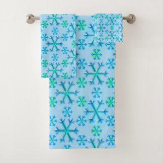 Blue and White Snowflake Hexagon Pattern Bath Towel Set