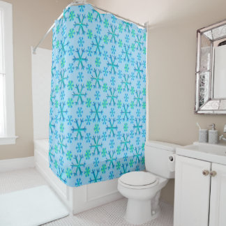Blue and White Snowflake Hexagon Pattern Shower Curtain