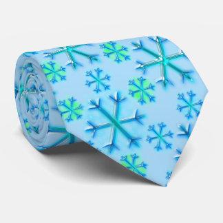 Blue and White Snowflake Hexagon Pattern Tie