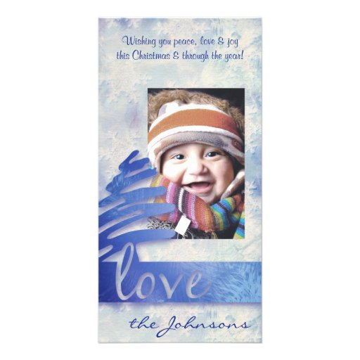 "Blue and White Snowflake ""Love"" Holiday Photo Card"