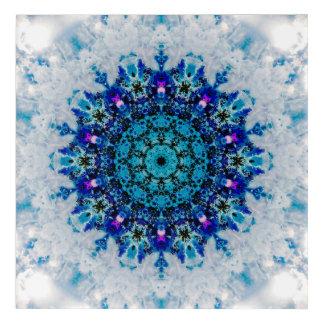 Blue and White Snowflake Mandala Acrylic Print
