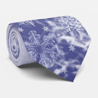 Blue and White Snowflake Men's Tie