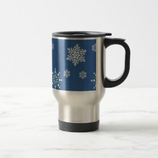Blue and White Snowflake Pattern Travel Mug