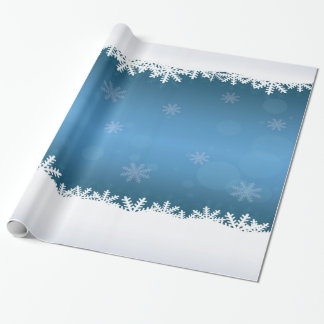 Blue and White Snowflakes and Frosty Edges Wrapping Paper