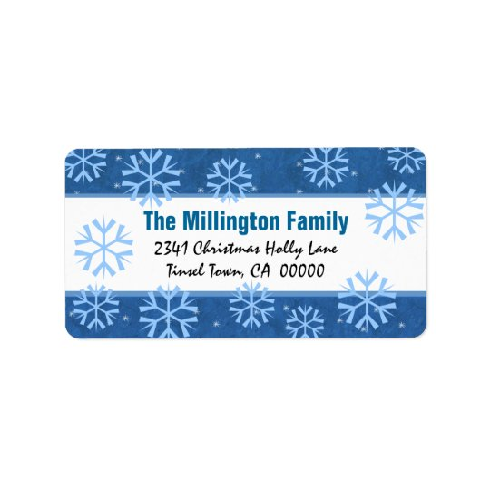 Blue and White  Snowflakes and Vintage Holly Address Label