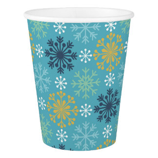 Blue and White Snowflakes Paper Cup