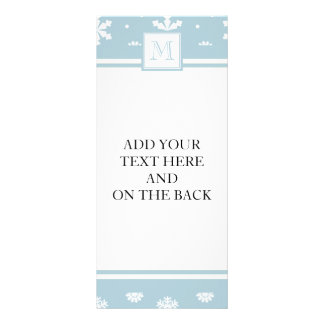 Blue and White Snowflakes Pattern 1 with Monogram Personalized Rack Card