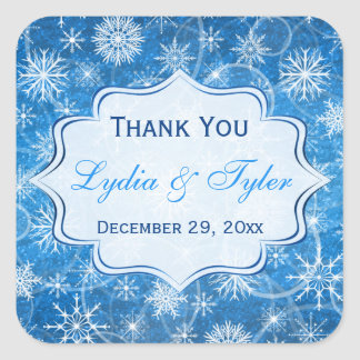 Blue and White Snowflakes Wedding Favor Sticker