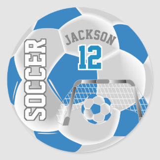 Blue and White Soccer Ball Classic Round Sticker