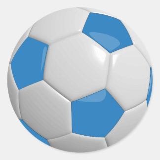 Blue and White Soccer Ball Round Sticker