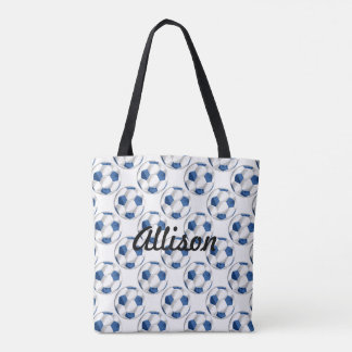 Blue and White Soccer Balls with Name Tote Bag