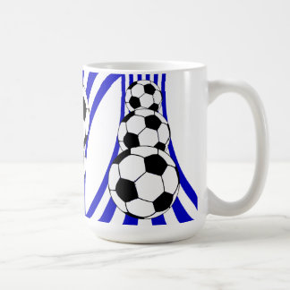 Blue and white Soccer design Coffee Mug