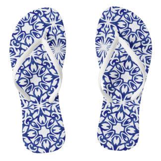 Blue and White Spanish Mediterranean Pattern Thongs