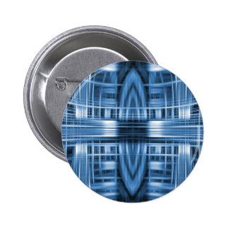 Blue and white speed blur pattern 6 cm round badge