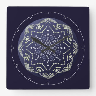 Blue and White Sphere Mandala Wall Clock