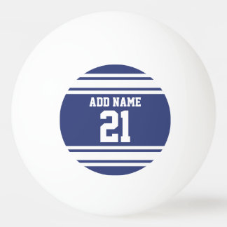 Blue and White Sports Jersey Custom Name Number Ping Pong Ball