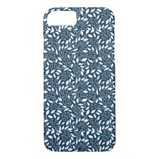 Blue and White Spring Leaves Pattern iPhone 7 Case