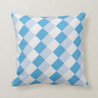 Blue and white square toss pillow