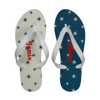 Blue and White Star Flip Flops